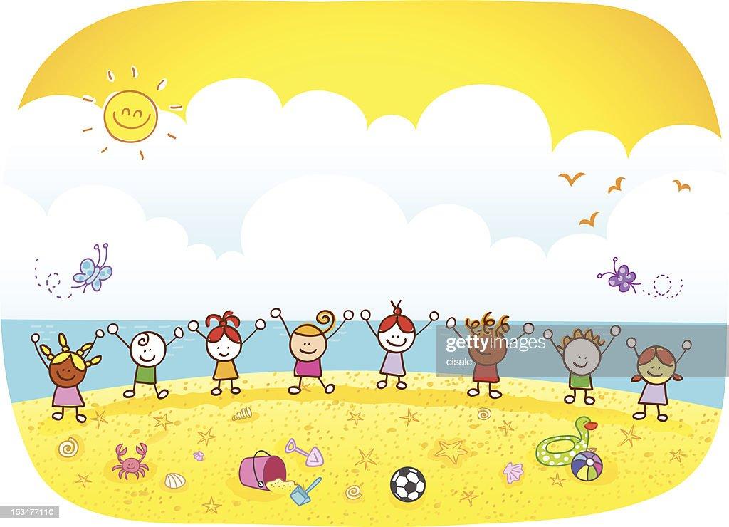 Happy Summer Holiday Children Kids At Beach Cartoon Illustration ...