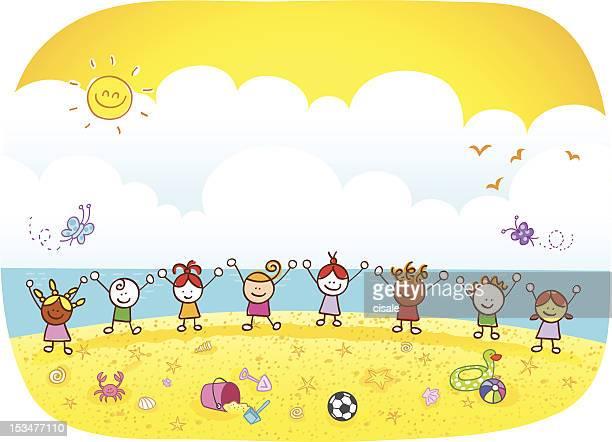 Happy Summer Holiday Children Kids At Beach Cartoon Illustration
