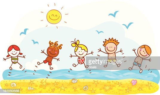 Happy Summer Holiday Children Kids At Beach Cartoon Illustration