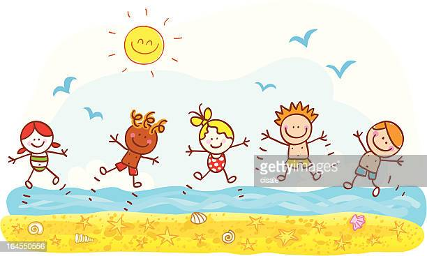 happy summer holiday kids jumping at beach ocean cartoon illustration