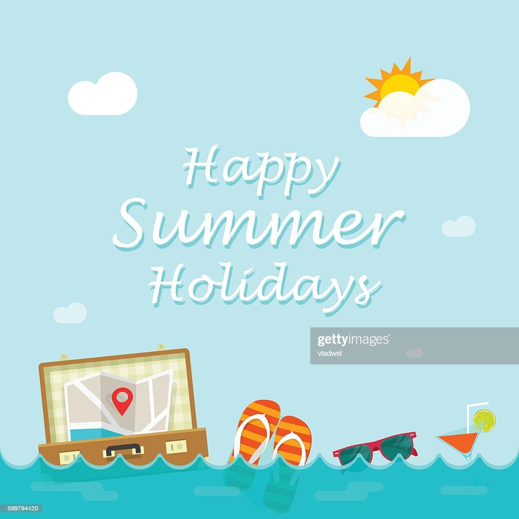 Happy summer holiday vector, traveler things floating on sea waves