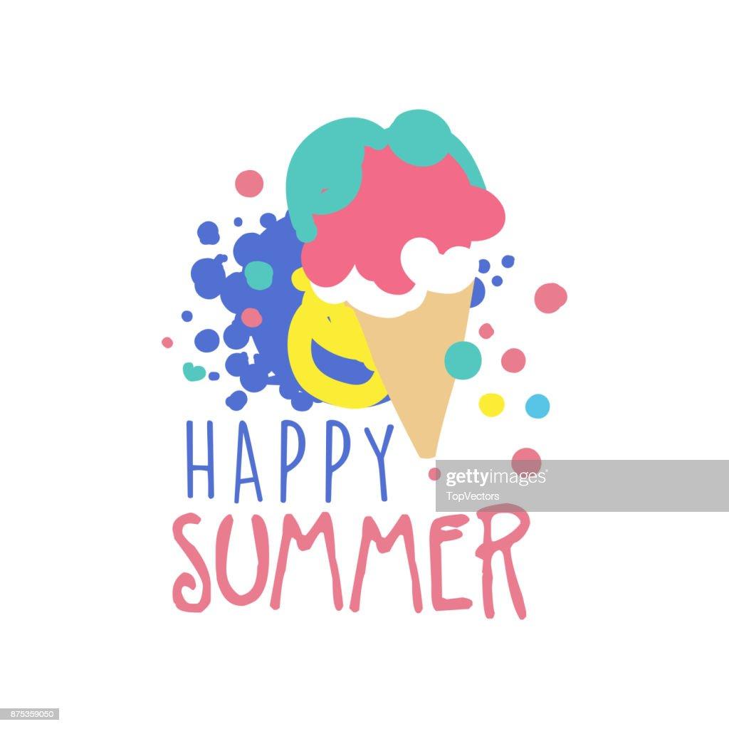 Glückliche Sommer Symbol Label Für Sommerurlaub Restaurant Café Bar ...