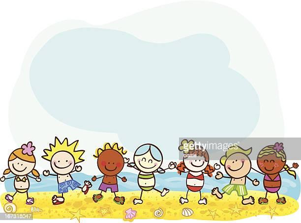 happy summer kids at beach vector cartoon illustration