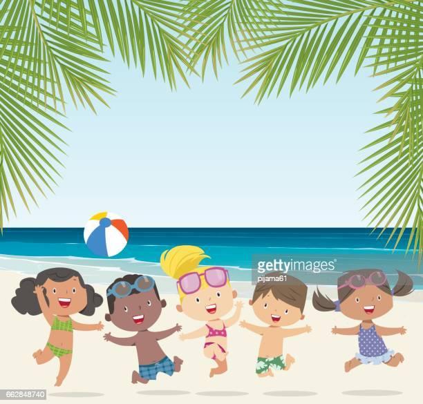 happy summer kids - beach ball stock illustrations, clip art, cartoons, & icons
