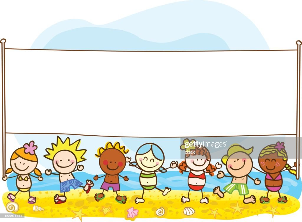 happy summer kids with banner cartoon illustration