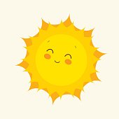 Happy sun icon. Vector illustration