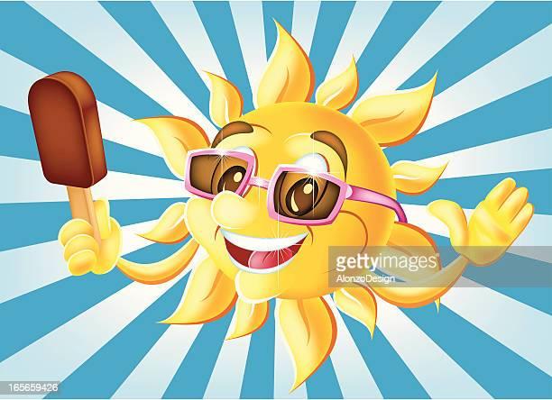 happy sun with ice cream - eating ice cream stock illustrations, clip art, cartoons, & icons