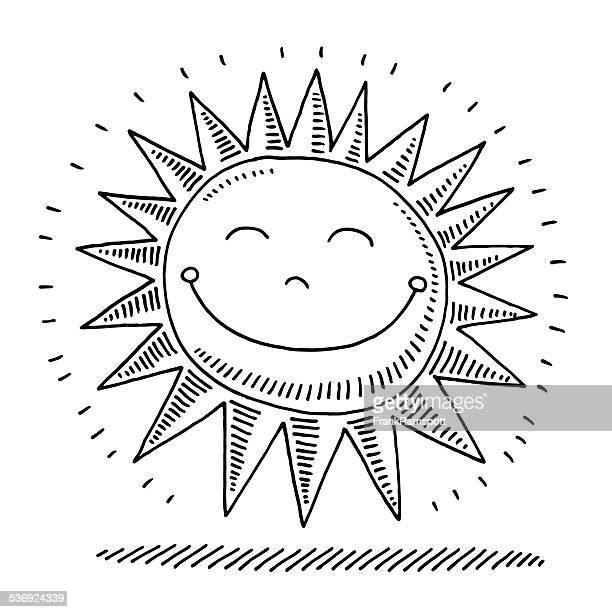 ilustrações, clipart, desenhos animados e ícones de sol feliz desenho - clip art