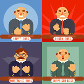 Happy Surprised Mustache Angry Adult Boss Emotions Set Character Symbol