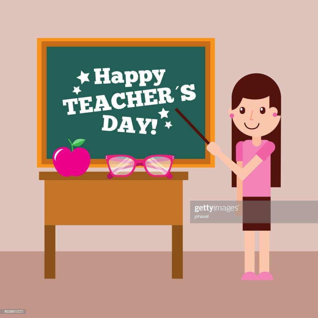 happy teacher day card girl chalkboard and desk