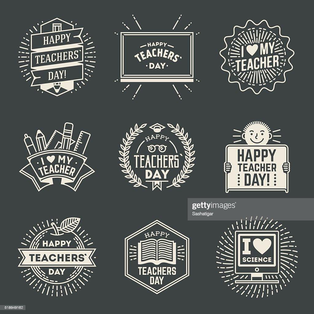 Happy Teachers` Day design insignias logotypes set 1.