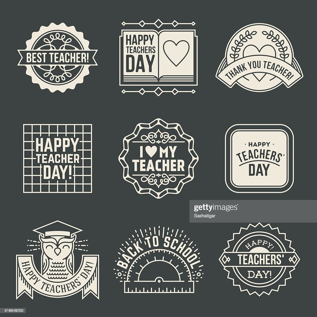 Happy Teachers` Day design insignias logotypes set 2.