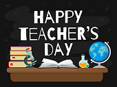 Happy Teacher's Day. Vector illustration web banner with black background. EPS10.