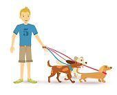 Happy teen walking with dog pet flat illustration
