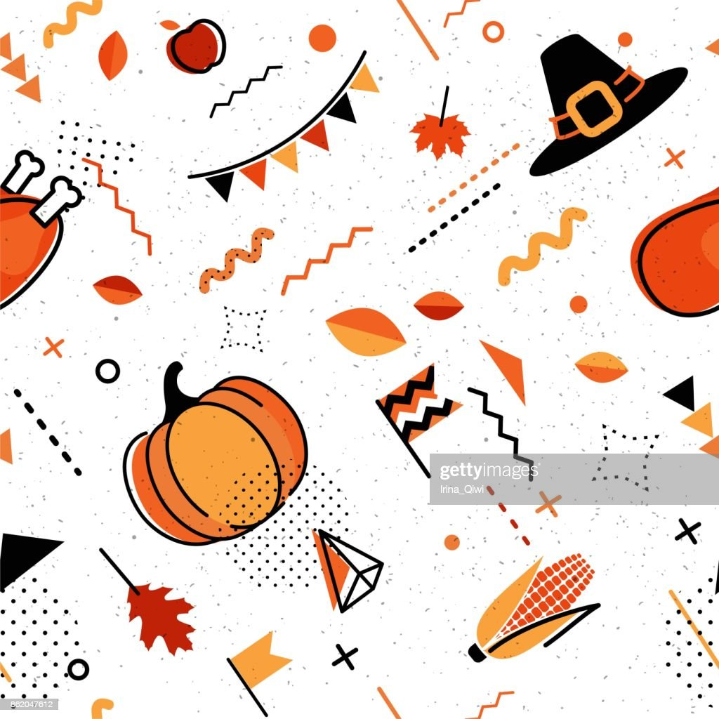Happy thanksgiving abstract background in 80s retro style.