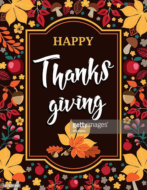 happy thanksgiving - autumn background with leaves, mushrooms and apples - thanksgiving holiday stock illustrations, clip art, cartoons, & icons