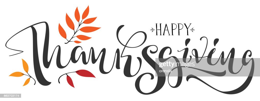 Happy Thanksgiving calligraphy text for greeting card