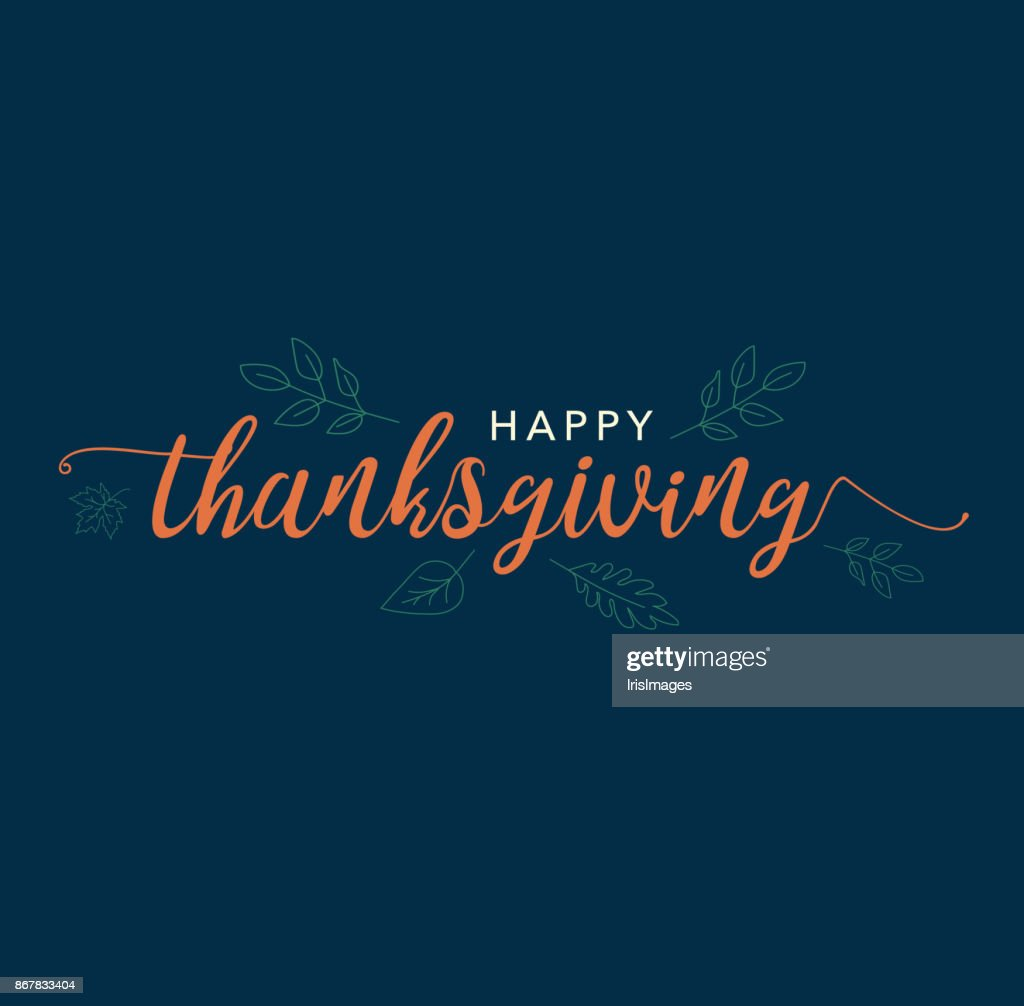 Happy Thanksgiving Calligraphy Text with Illustrated Leaves Over Dark Blue Background
