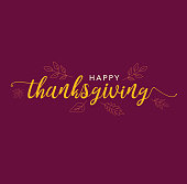 Happy Thanksgiving Calligraphy Text with Illustrated Leaves Over Dark Maroon Background