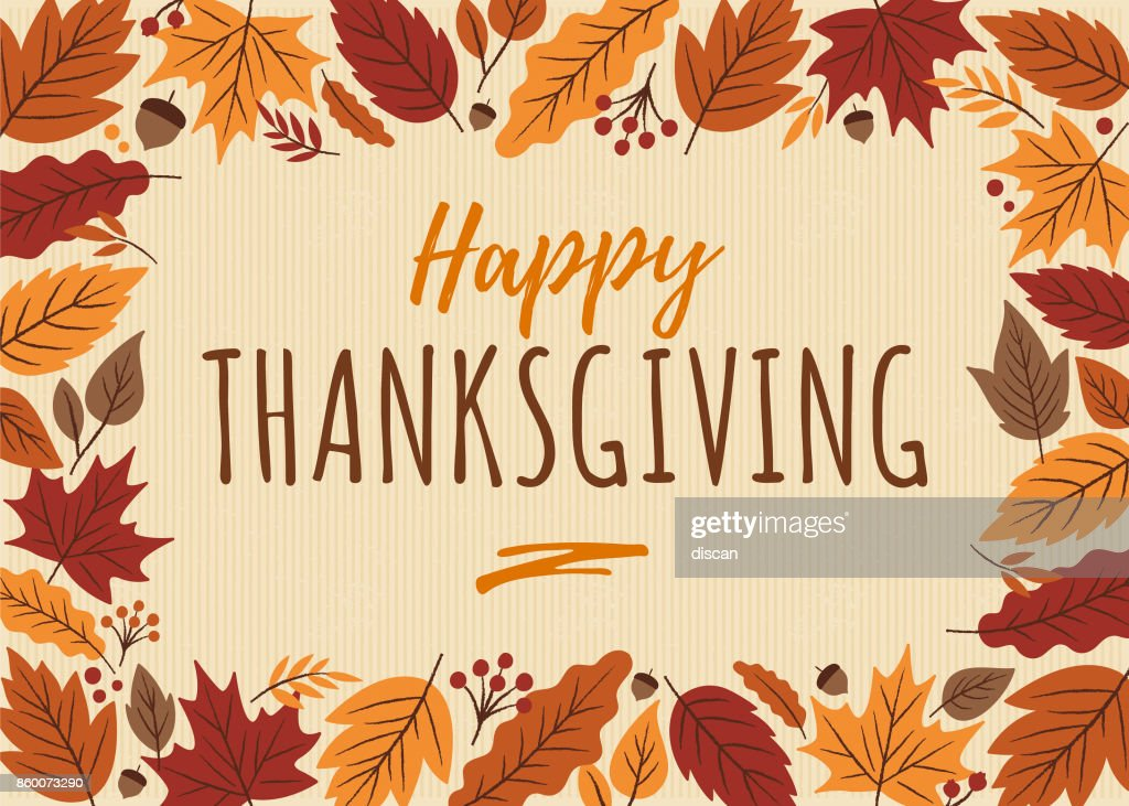 Happy Thanksgiving card with leaves frame.