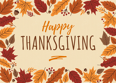 Happy Thanksgiving card with leaves frame. - gettyimageskorea