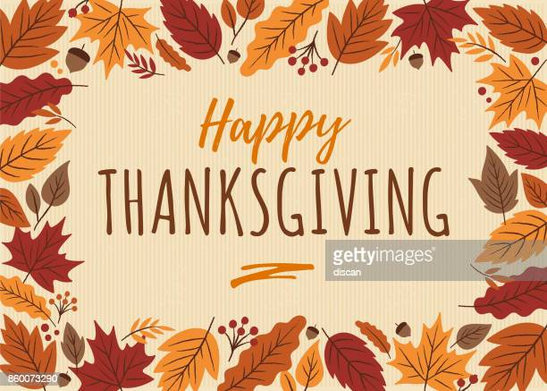 happy thanksgiving card with leaves frame. - thanksgiving holiday stock illustrations
