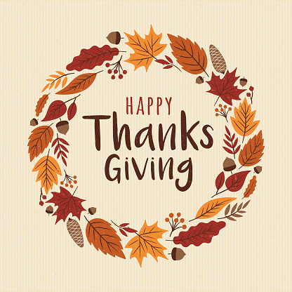 Happy Thanksgiving card with wreath. - gettyimageskorea