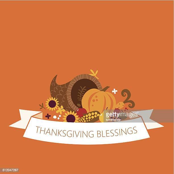 happy thanksgiving cornucopia banner - thanksgiving holiday stock illustrations, clip art, cartoons, & icons