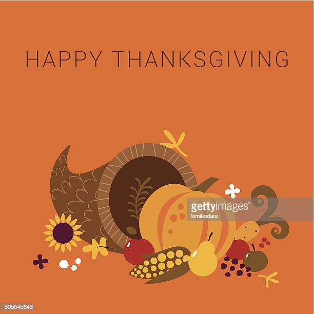 illustrations, cliparts, dessins animés et icônes de carte de joyeux thanksgiving corne d'abondance - thanksgiving
