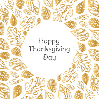 Happy Thanksgiving Day greeting card with golden leaves - gettyimageskorea