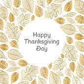 Happy Thanksgiving Day greeting card with golden leaves