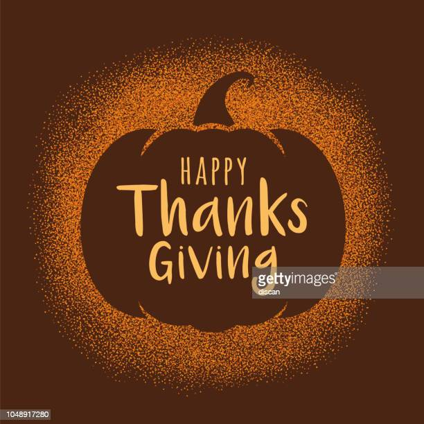 illustrations, cliparts, dessins animés et icônes de carte de voeux happy thanksgiving day avec citrouille. - thanksgiving
