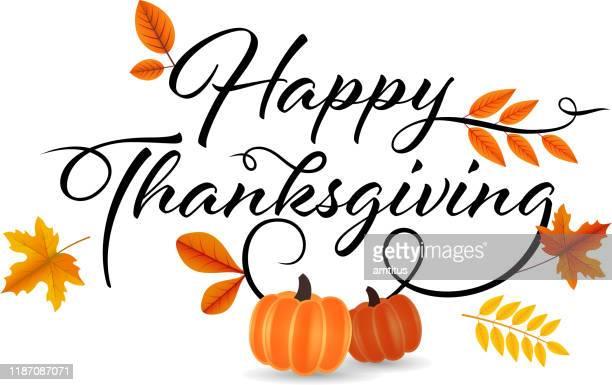 happy thanksgiving decoration - thanksgiving stock illustrations