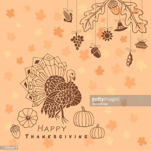 happy thanksgiving design - thanksgiving decoration stock illustrations