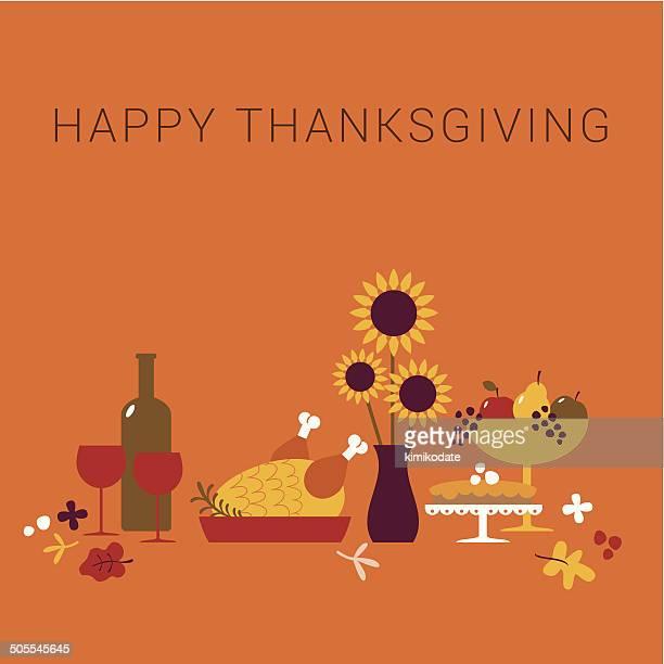 happy thanksgiving dinner card - thanksgiving holiday stock illustrations, clip art, cartoons, & icons