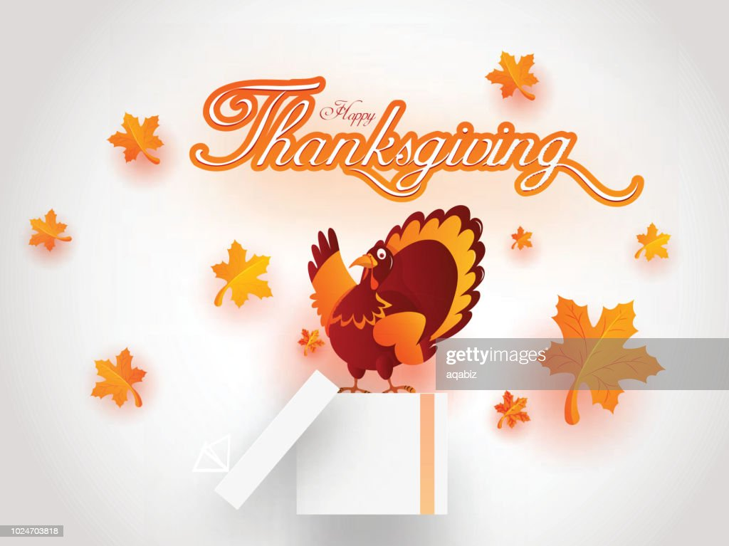 Happy Thanksgiving festival concept poster or flyer design with illustration of Turkey bird on gift box on glossy white background decorated with maple leaves.