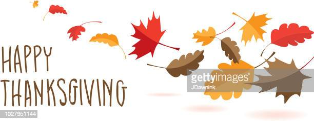 happy thanksgiving hand lettered greeting design with fall leaves - canadian thanksgiving stock illustrations