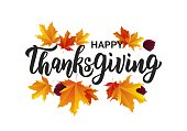 Happy Thanksgiving hand lettering text. Typography for logo, icon, card, invitation and banner template. Greeting card for Thanksgiving day celebration.