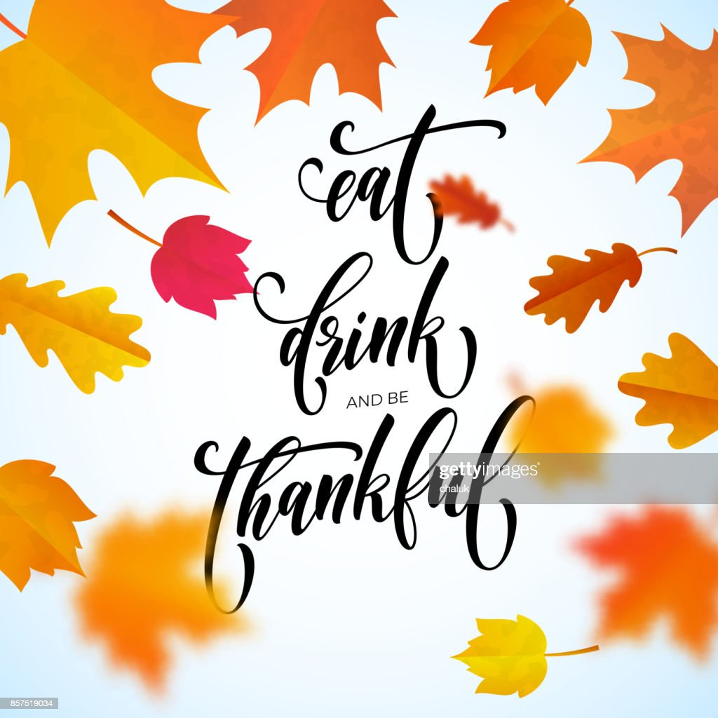 Happy Thanksgiving Holiday Autumn Fall Vector Calligraphy Maple Leaf