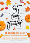 Happy Thanksgiving holiday party autumn fall vector pumpkin leaf greeting card