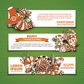 Happy Thanksgiving horizontal banner templates.