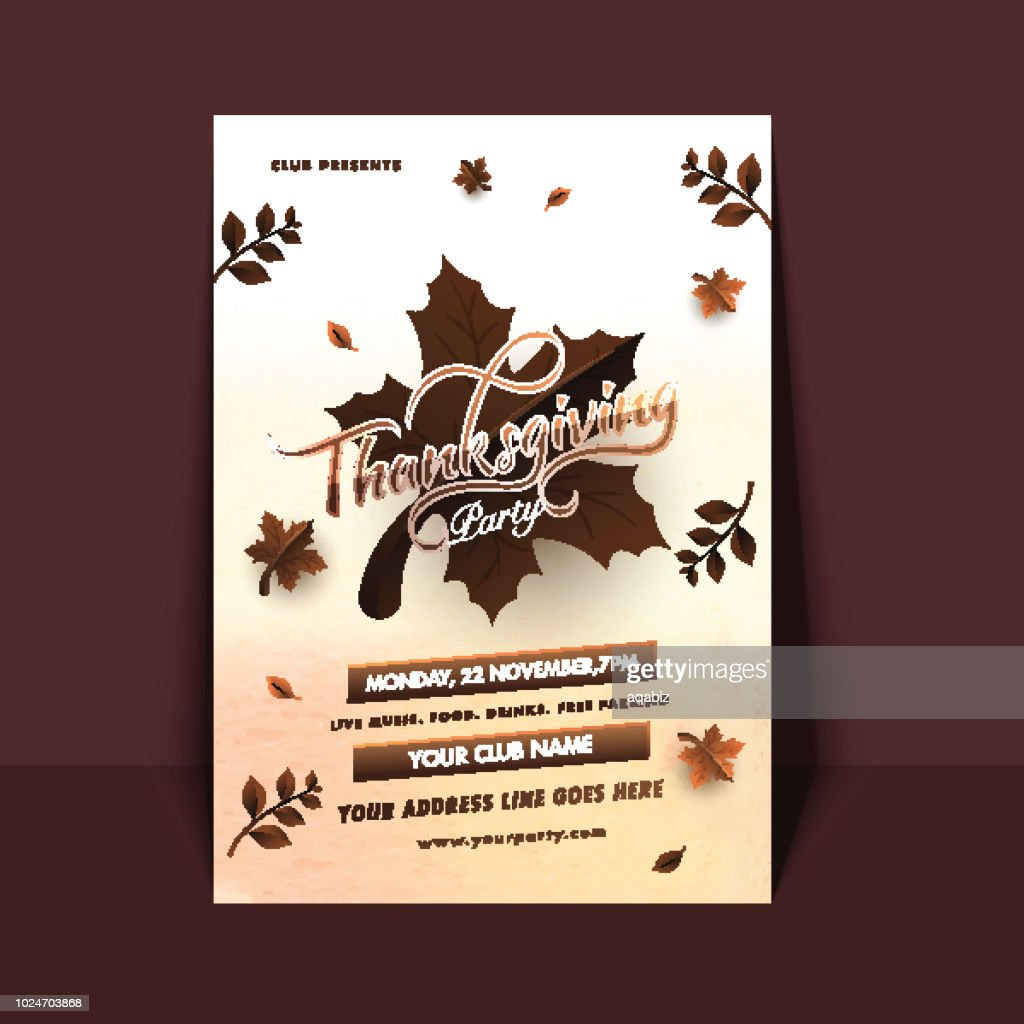 Happy Thanksgiving invitation card with maple leaves, date, time and venue details on brown background.