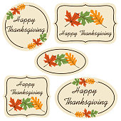 happy thanksgiving labels with leaves