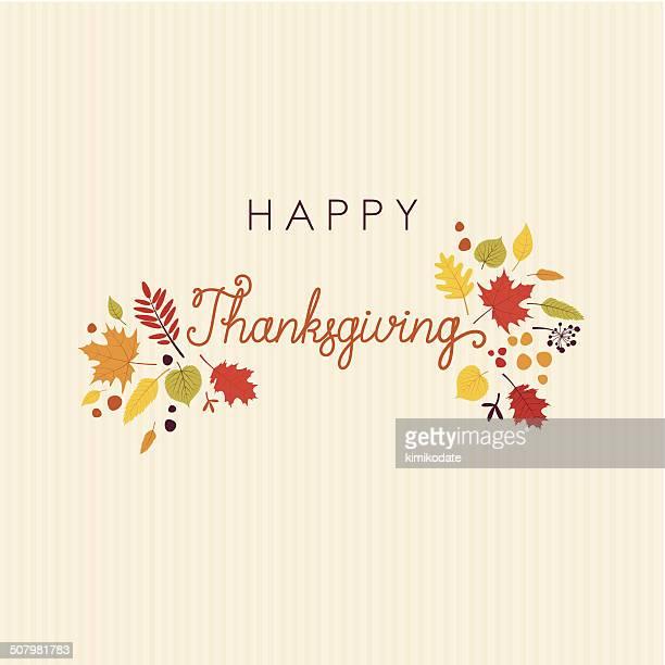 Happy Thanksgiving letras tarjeta de hojas