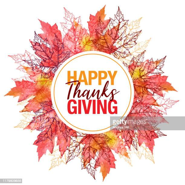 happy thanksgiving maple leaf vector watercolor and ink circular pattern with copy space - canadian thanksgiving stock illustrations