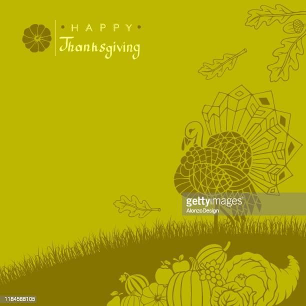 happy thanksgiving poster - turkey farm prepares for thanksgiving stock illustrations