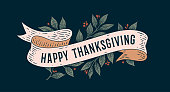 Happy Thanksgiving. Retro greeting card
