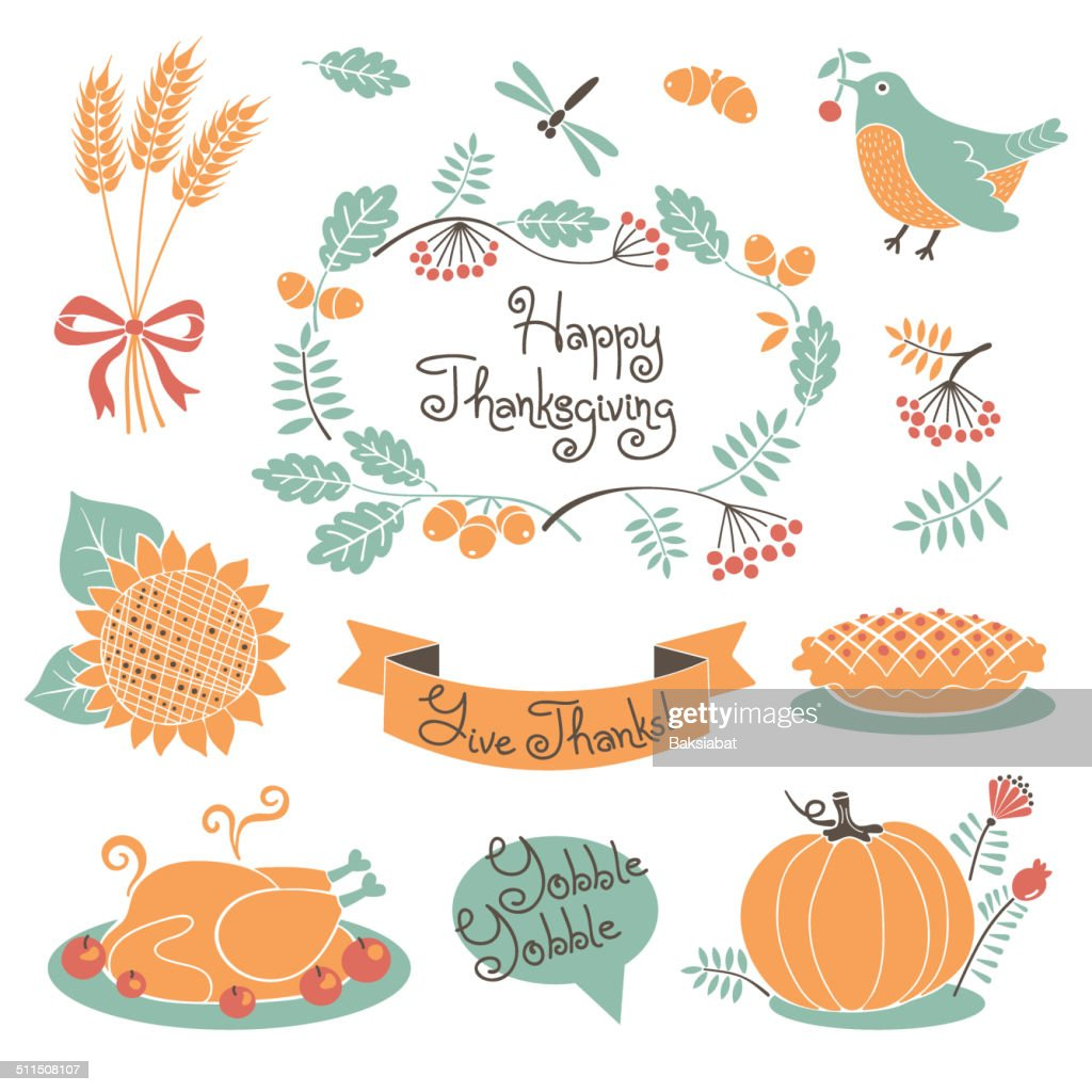 Happy Thanksgiving set of elements for design.