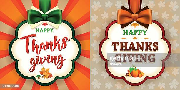 Happy Thanksgiving Set of two greeting cards with satin bows