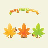 Happy thanksgiving turkeys disguised as maple leaves